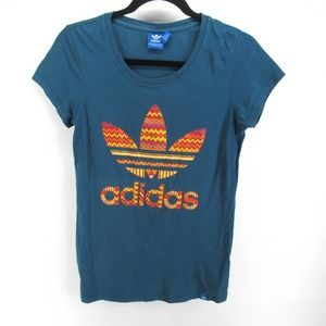 Adidas Trefoil Logo Print Scoop Neck T Shirt